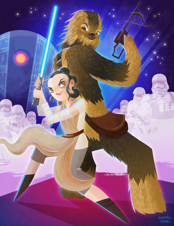Rey and Chewie.   Postcards available in the shop!