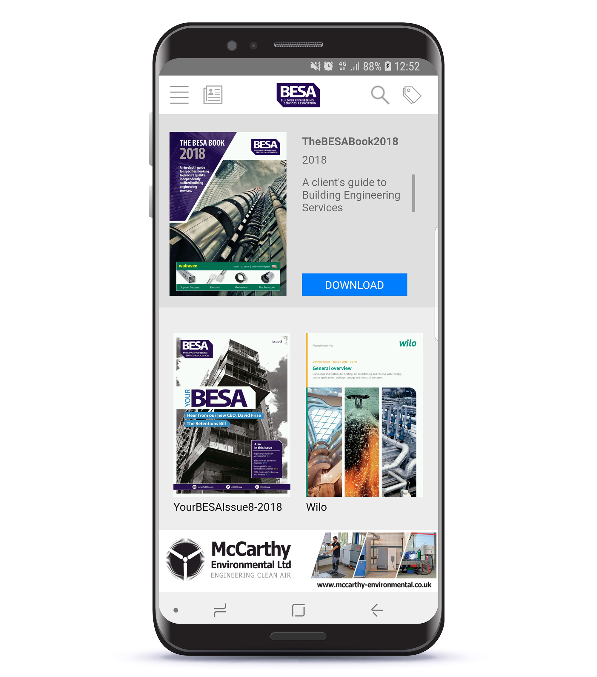 BESA Digital - web/app and newsletter