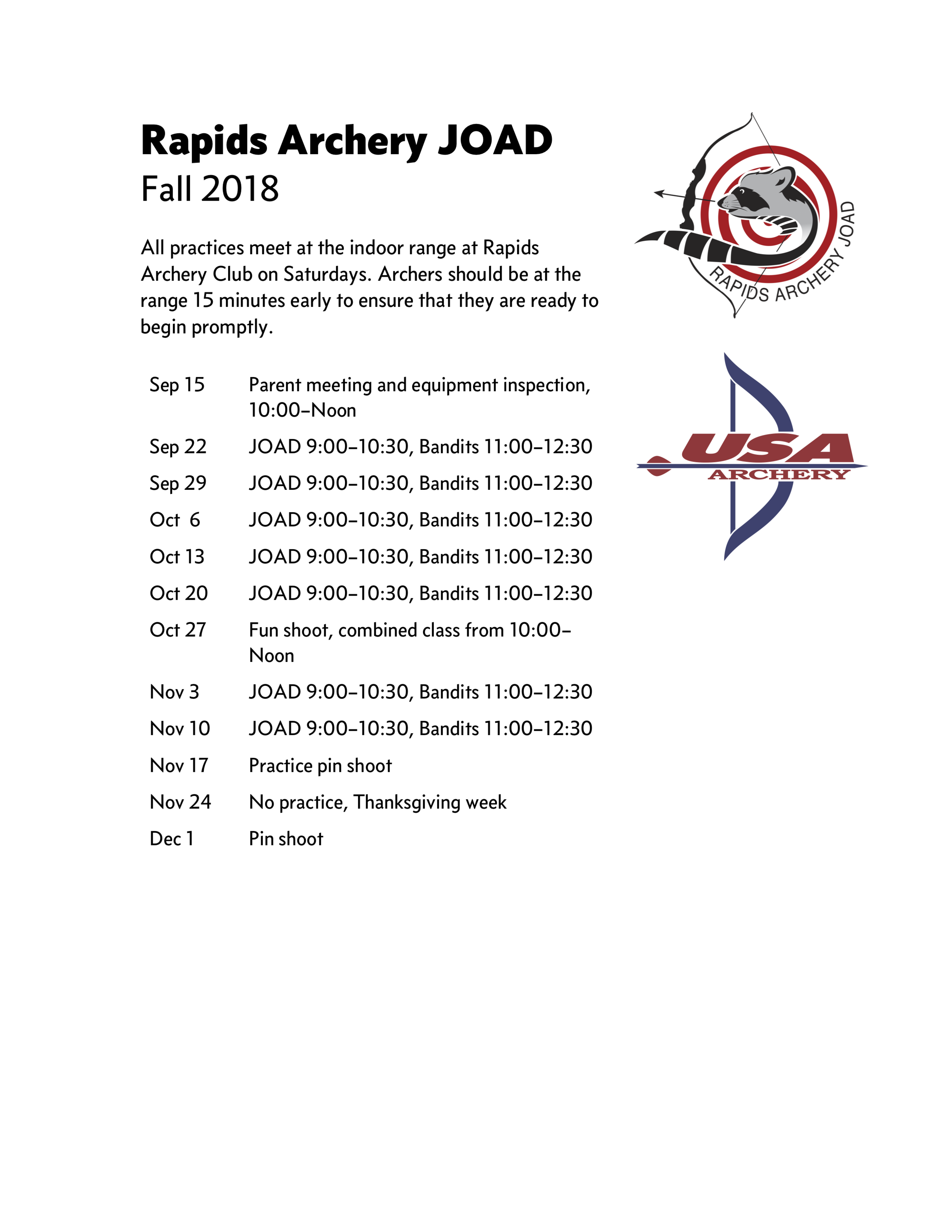 Rapids Archery JOAD fall 2018 schedule.png