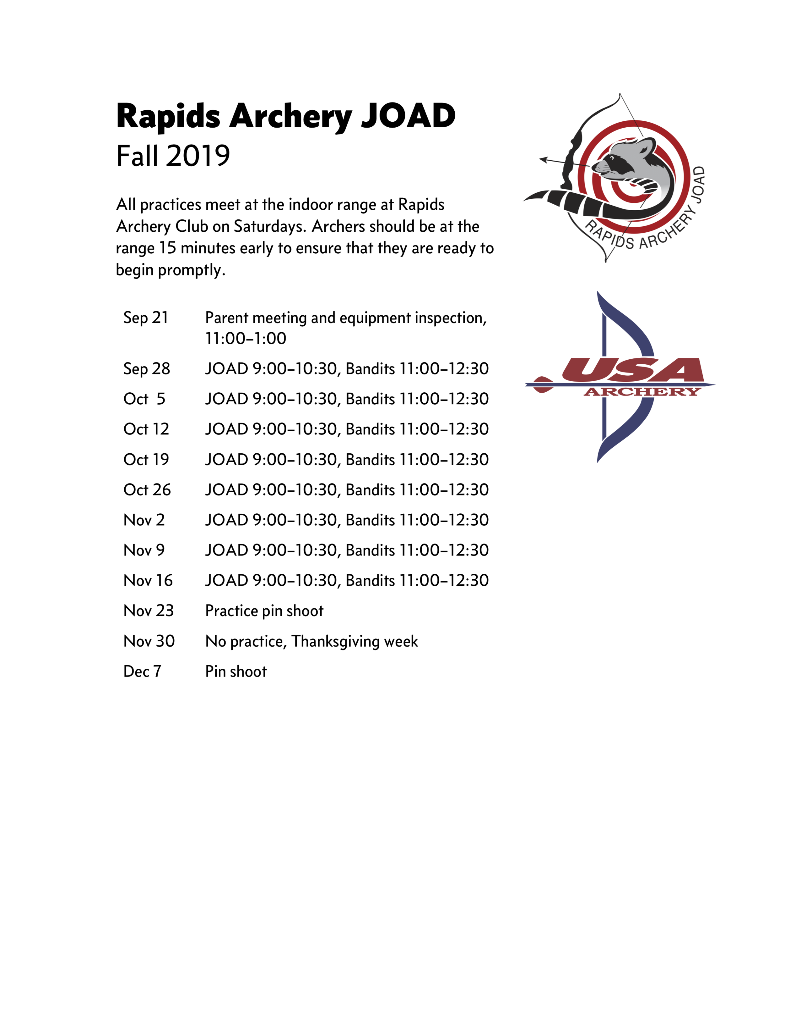 Rapids Archery JOAD fall 2019 schedule.png
