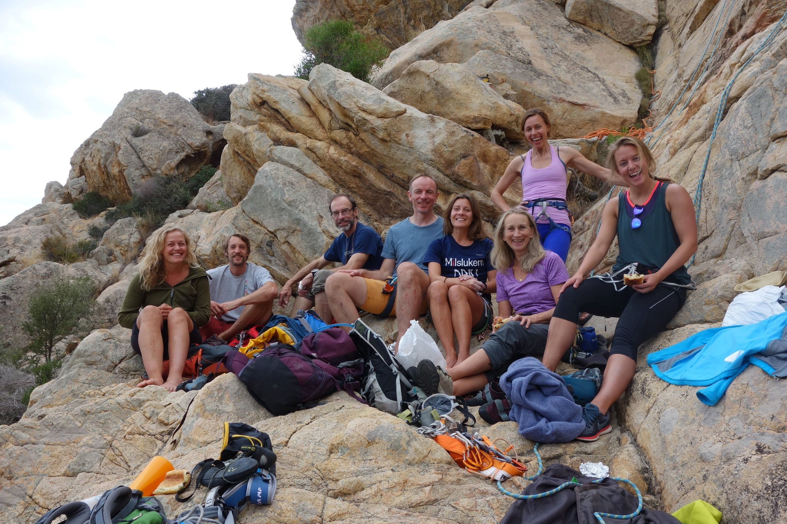 Den første gjengen som var med på klatretur