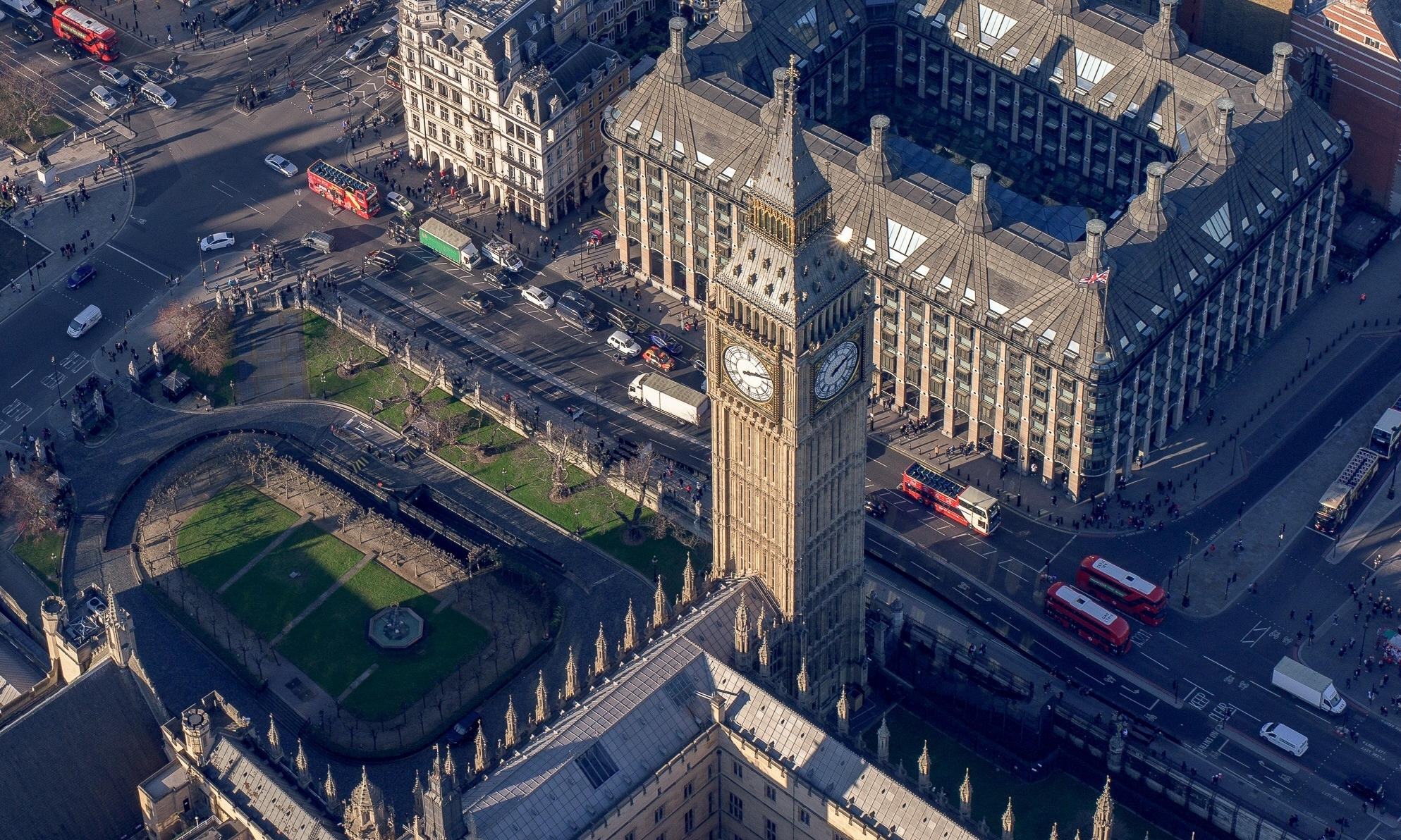 Big Ben Aerial View from Helicopter