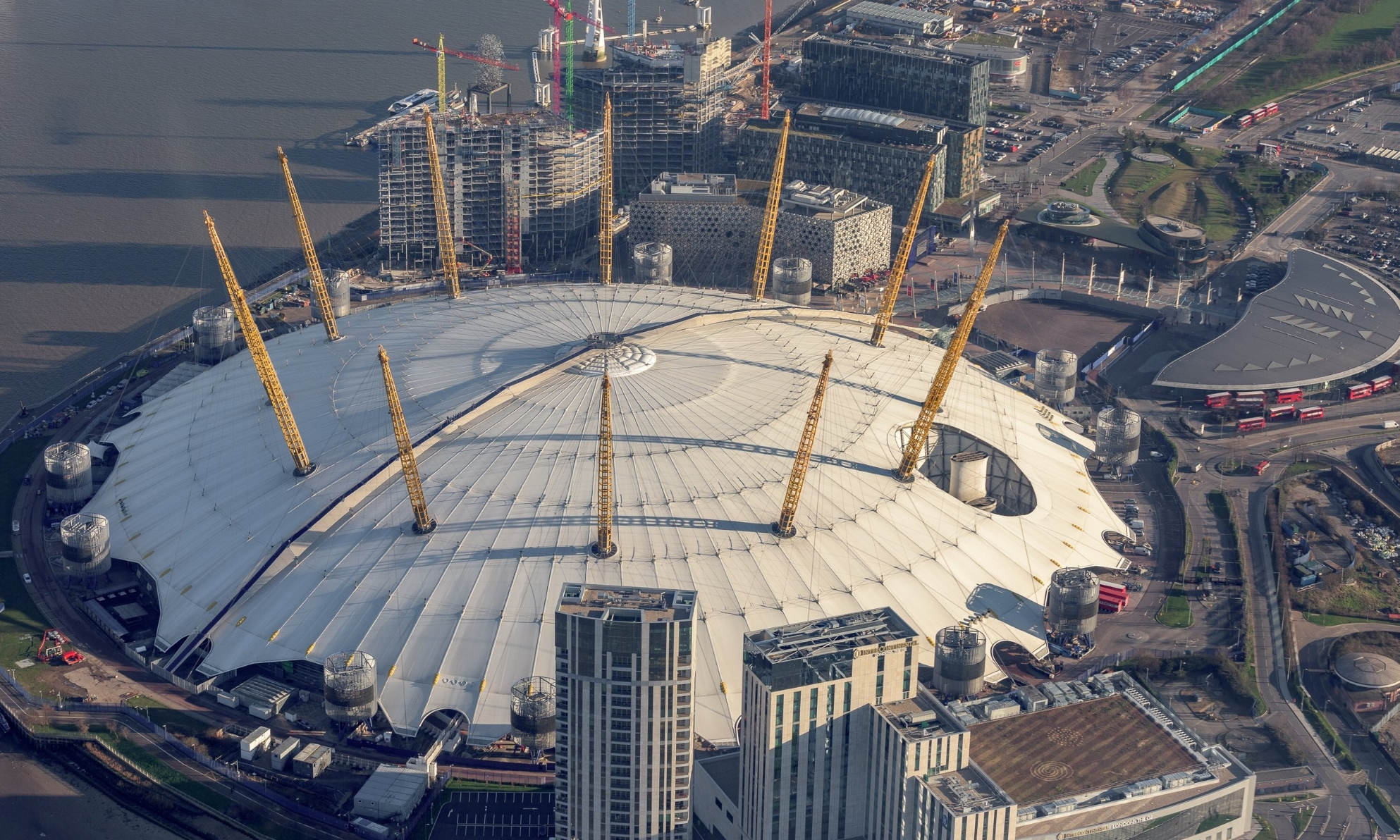 O2 Arena Dome Aerial View from Helicopter