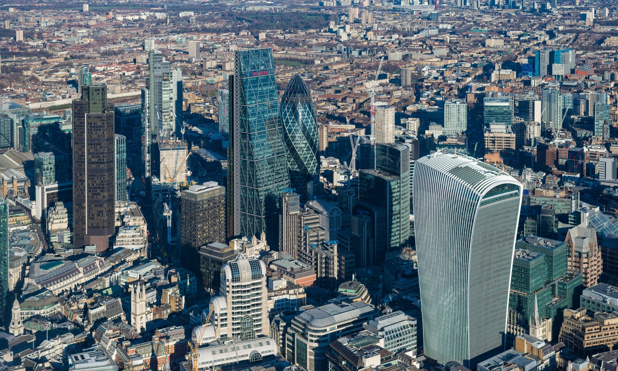 Canary Wharf Aerial View from Helicopter