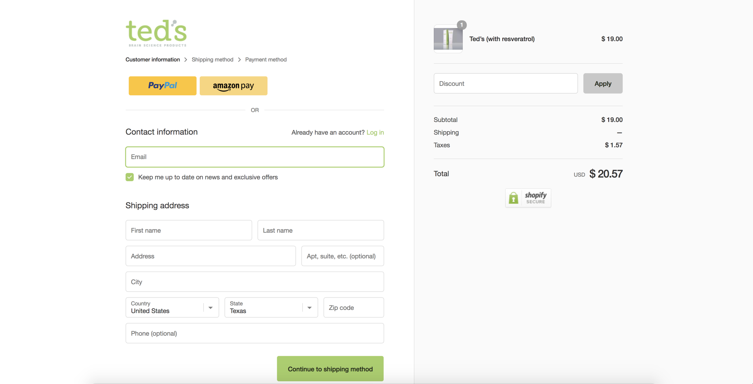 Treatment - This is the treatment version of the same 'Checkout' page. You'll notice only a small variation in design with the addition of the 'Shopify Secure' badge on the right hand side.Here are the results observed for the treatment page:Treatment: 133 Sessions, 94 Conversions (70.4%)