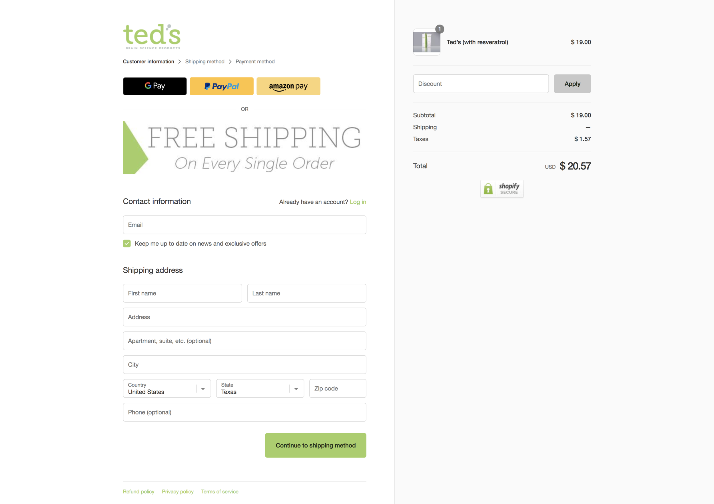 Treatment - This is the treatment version of the same 'Checkout' page. You'll notice the addition of the 'FREE SHIPPING' banner at the top of the shipping information form.Here are the results observed for the treatment page:Treatment: 1,319 Sessions, 233 Conversions (15.4%)