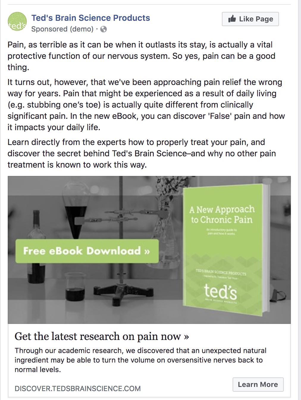 Treatment - This is the new treatment version of the eBook offer Facebook ad. You'll notice that everything except the supporting copy has stayed the same. In the supporting copy, we added a few paragraphs introducing the topic to the viewer. Here are the results observed for the treatment page:1172 visitors, 105 clicks (8.96% Clickthrough Rate)
