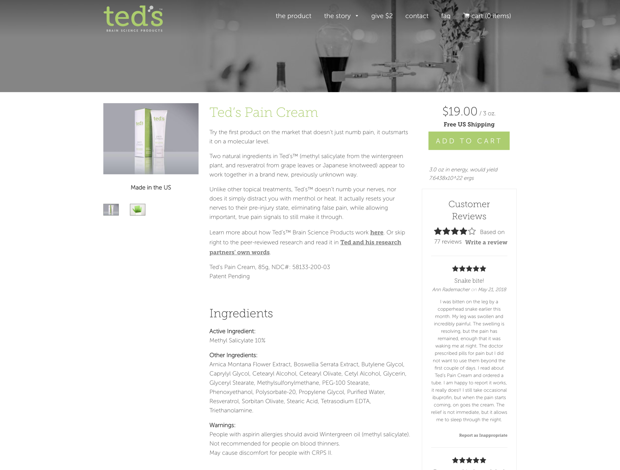 Control - This is the main site's control version of Ted's Pain Cream 'Product' page. This page does not contain a 'subscribe' option.Here are the results observed for the control page:Control: 1,318 visitors, 157 conversions (12.1% eCommerce Conversion Rate)