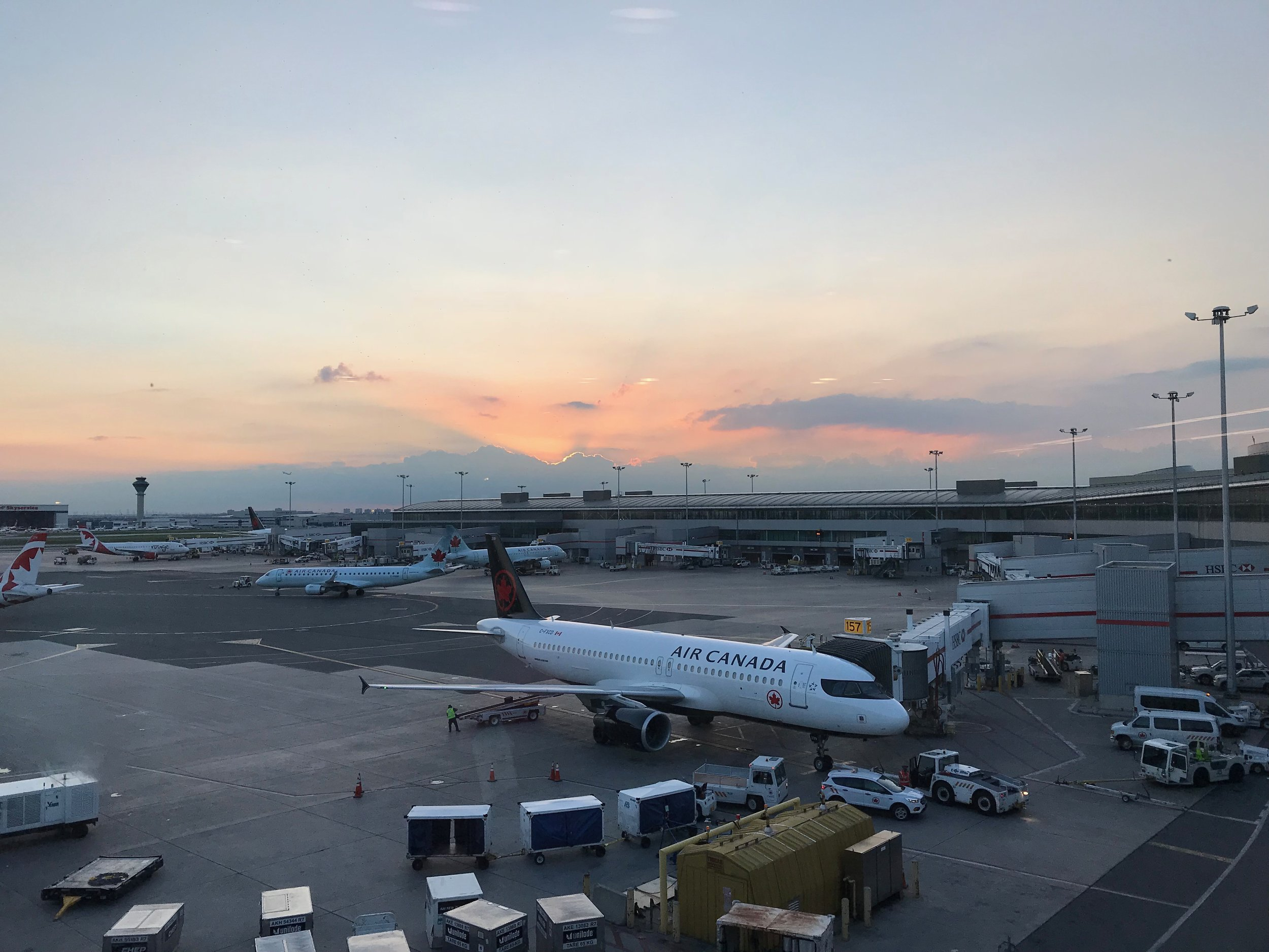 Sunset at Toronto Pearson Airport.