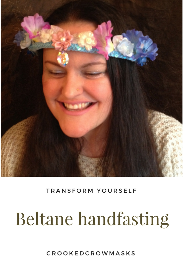 Beltane - 1920 style Beltane handfasting headdresses. For weddings, bridesmaids, ritual, handfasts, fire leaps, or whatever else you imagine.Adorn yourself with these pieces of personal regalia. Gorgeous, glimmering, glamorous headdresses and crowns, for fairy weddings, roleplay, and ritual use.Benefit from the quality my decades of experience bring to your event - crookedcrowmasks - transform yourself.