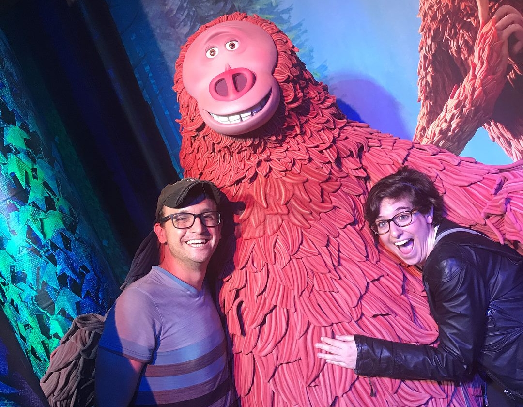 """Michael and Jori with """"The Missing Link"""" at Laika Live."""