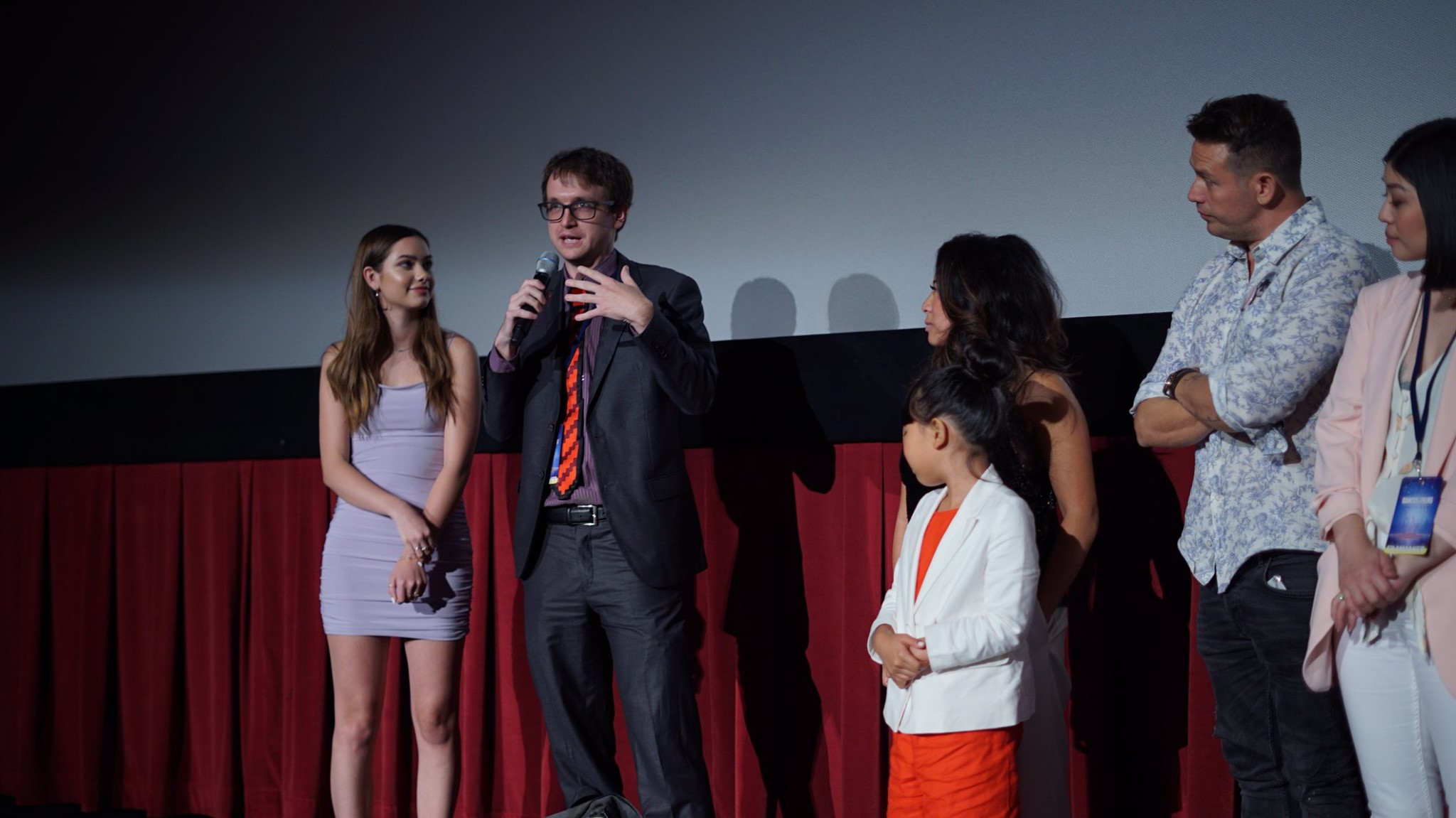 Lead Actress, Kate Buatti (left) and Writer/Director, Michael Felker (goofy person with mic) at the Q&A for the short films block.