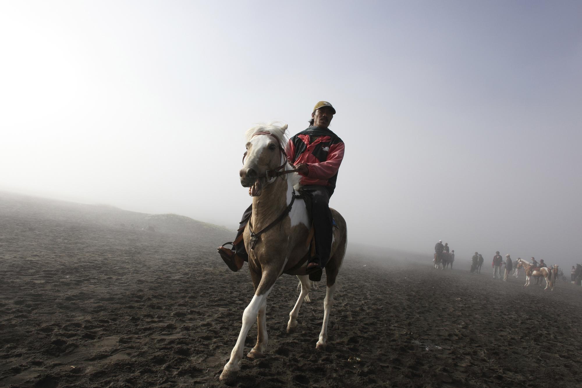 Horseman at Mount Bromo in East Java.
