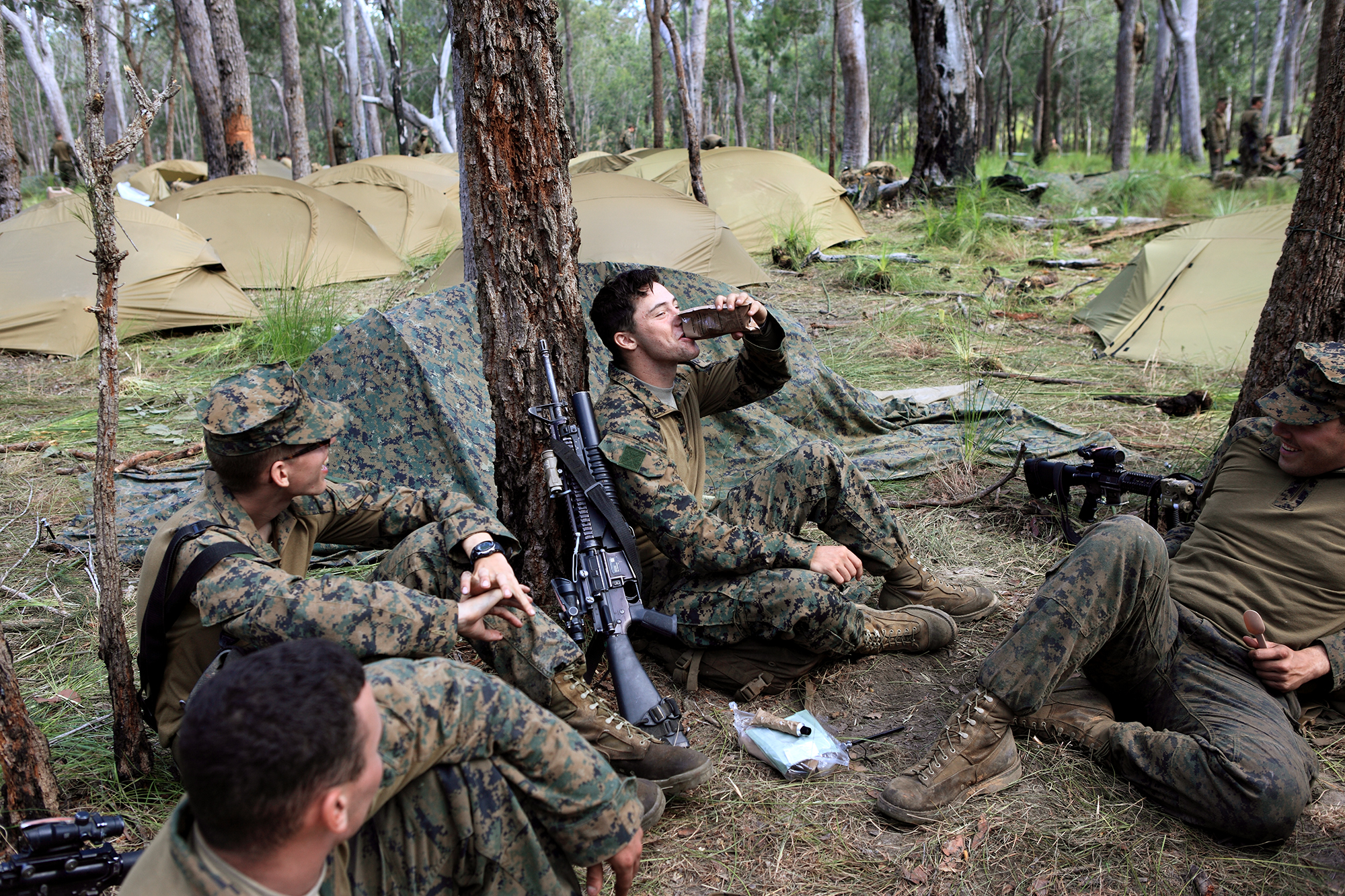 US Marine Corps taking a break from military exercises at Shoalwater Bay.