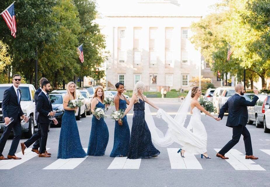 bridesmaid dresses were meant to reflect a Starry Night - navy blue with beading