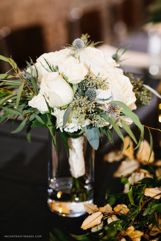 bridal party bouquet we placed on a table