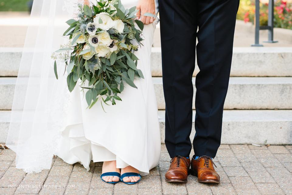 """Worth it: dress + flowers… not worth it: shoes! these were $30 blue suede sandals and super comfortable (also made fun for my """"something blue"""")"""