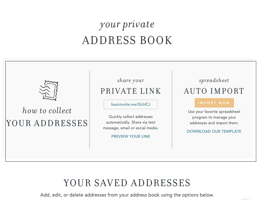 Address Book - This was HUGE for us, since many of our friends have moved in the past six months. Basic Invite offers a service we shared on Facebook and lets people fill out current address information at no cost!