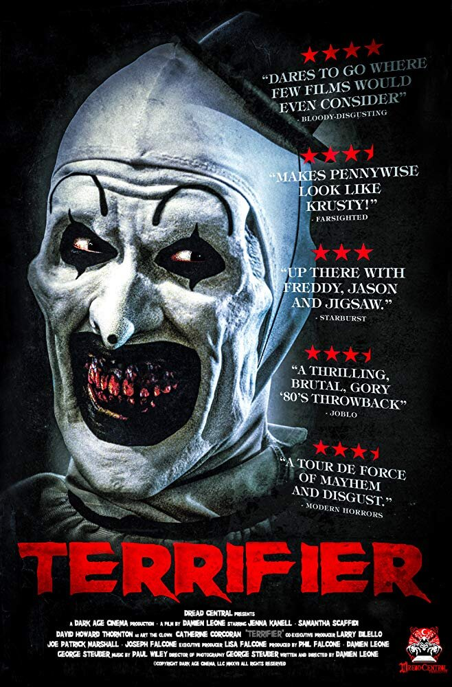 Terrifier - Genre: Horror, ThrillerOn Halloween night, inside a dilapidated apartment building, Art the Clown stalks his victims, slicing and slaughtering in terrifying silence.Why We Love This Scare: You better have a stomach for clowns and gore. This movie is truly terrifying. Michael only saw half because he was hiding under a blanket for the other half.Watch on Netflix