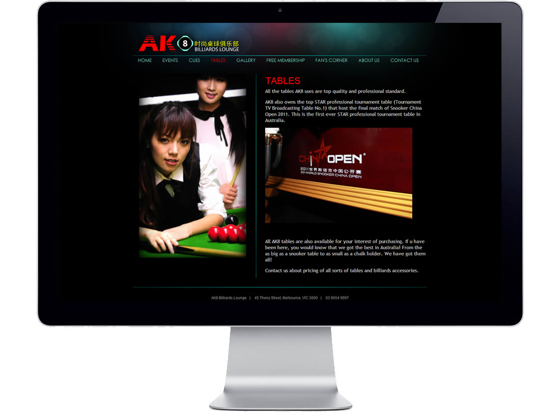 AK8 Billiards Lounge Website
