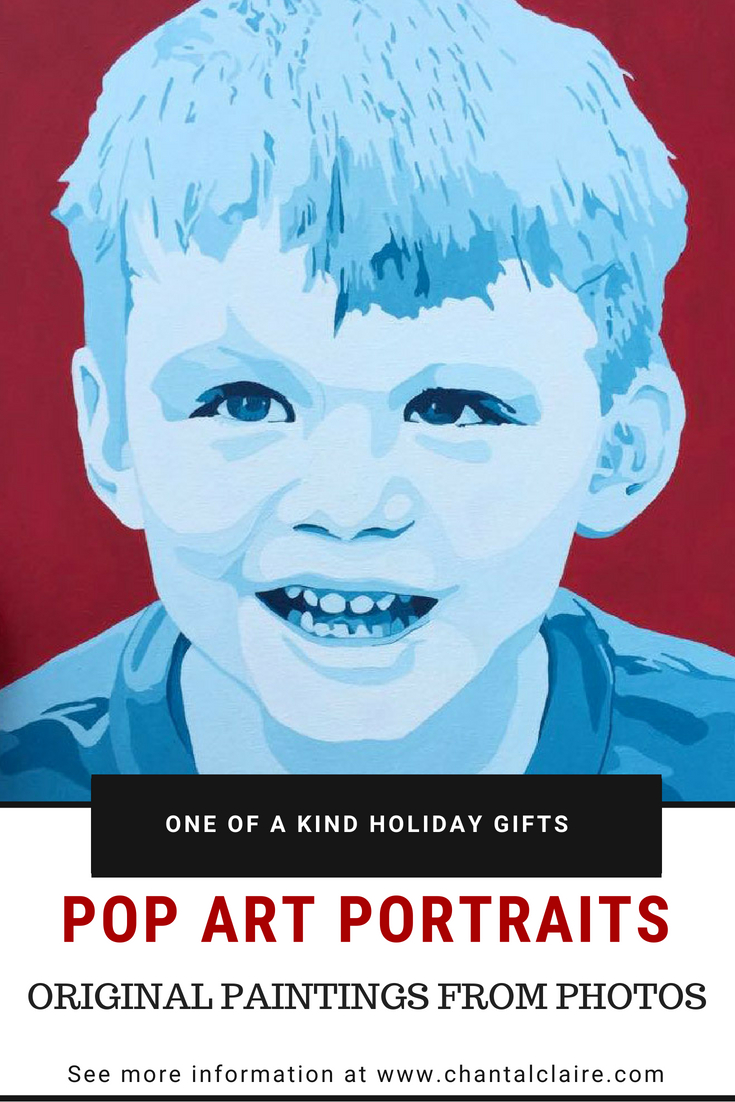"Pop art portrait of boy painted in shades of blue with red background.  Text overlay says, ""one of a kind holiday gifts."""