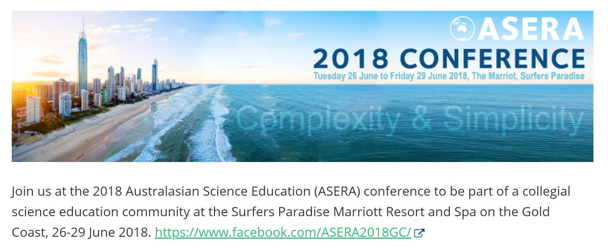 Australasian Science Education Research Association conference 2018. Link  here   Gold Coast, June 26-29 2018.