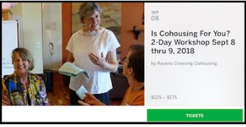 Register for our 2-day workshop with cohousing expert Dr. Margaret Critchlow September 8-9   Free Info Session