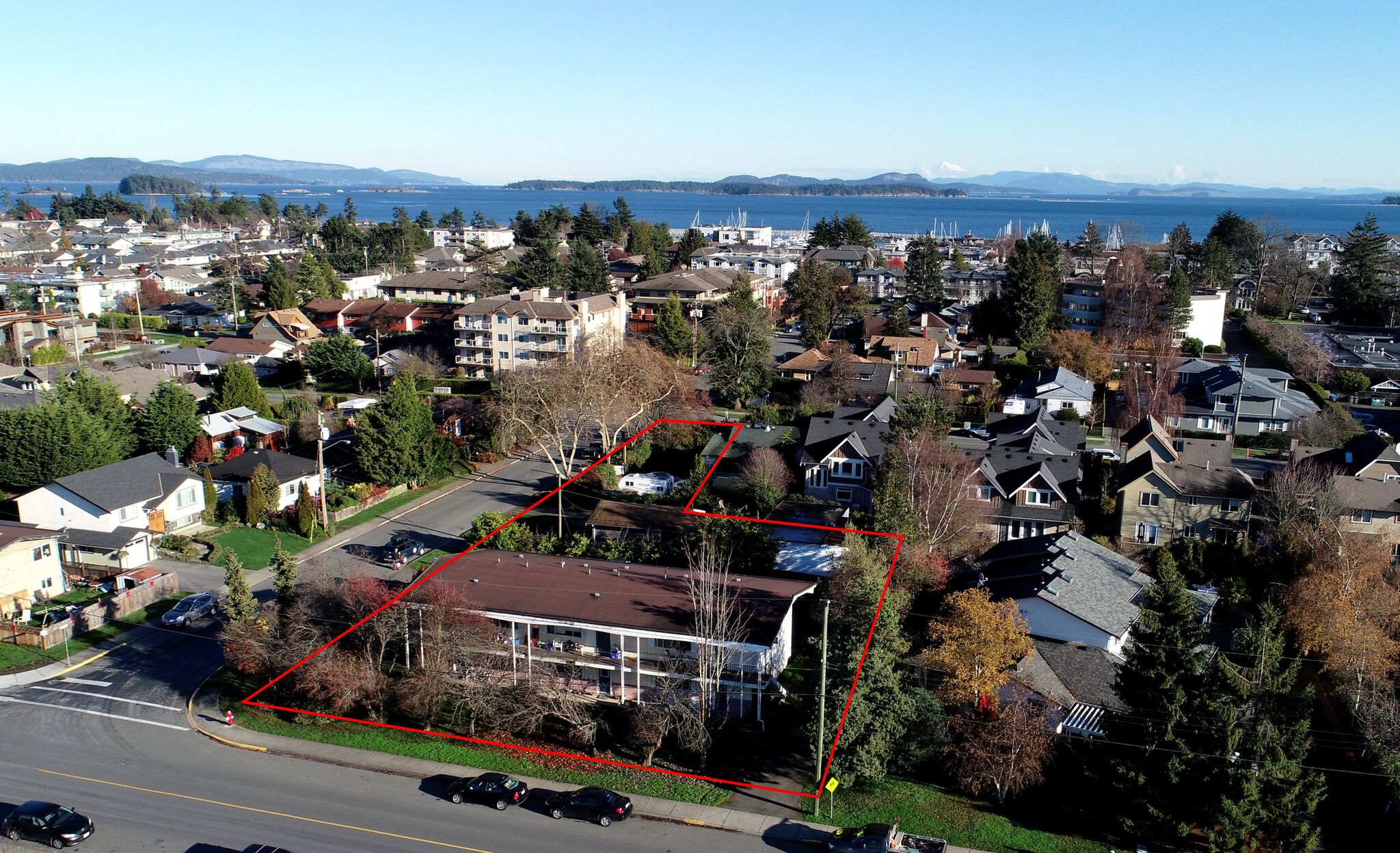 Aerial view of the Ravens Crossing Cohousing site at 2325 Brethour Street, Sidney