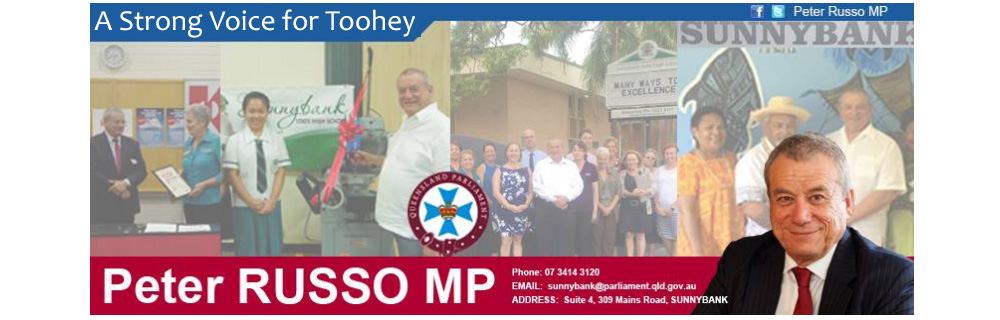 A banner of peter russo MP that includes his contact details and images of peter doing community work. It includes his motto, a strong voice for sunnybank