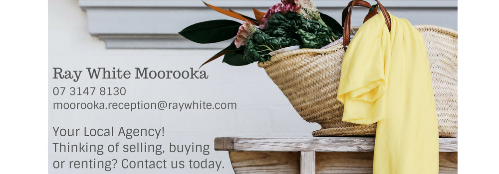The logo of ray white moorooka real estate agent. Silver sponsor of the fete. Includes (their contacts details (click on the image to find more) and the text: your local agency. Thinking of selling, buying or renting? Contact us today.
