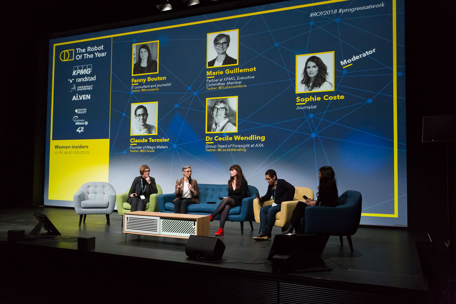 Women insiders in AI and robotics.  Dr CecileWendling- Group Head of Foresight at AXA, MarieGuillemot- Partner at KPMG, Executive Committee Member, FannyBouton- IT consultant and journalist, ClaudeTerosier- Founder of Magic Makers, Moderator : SophieCoste- Journalist.