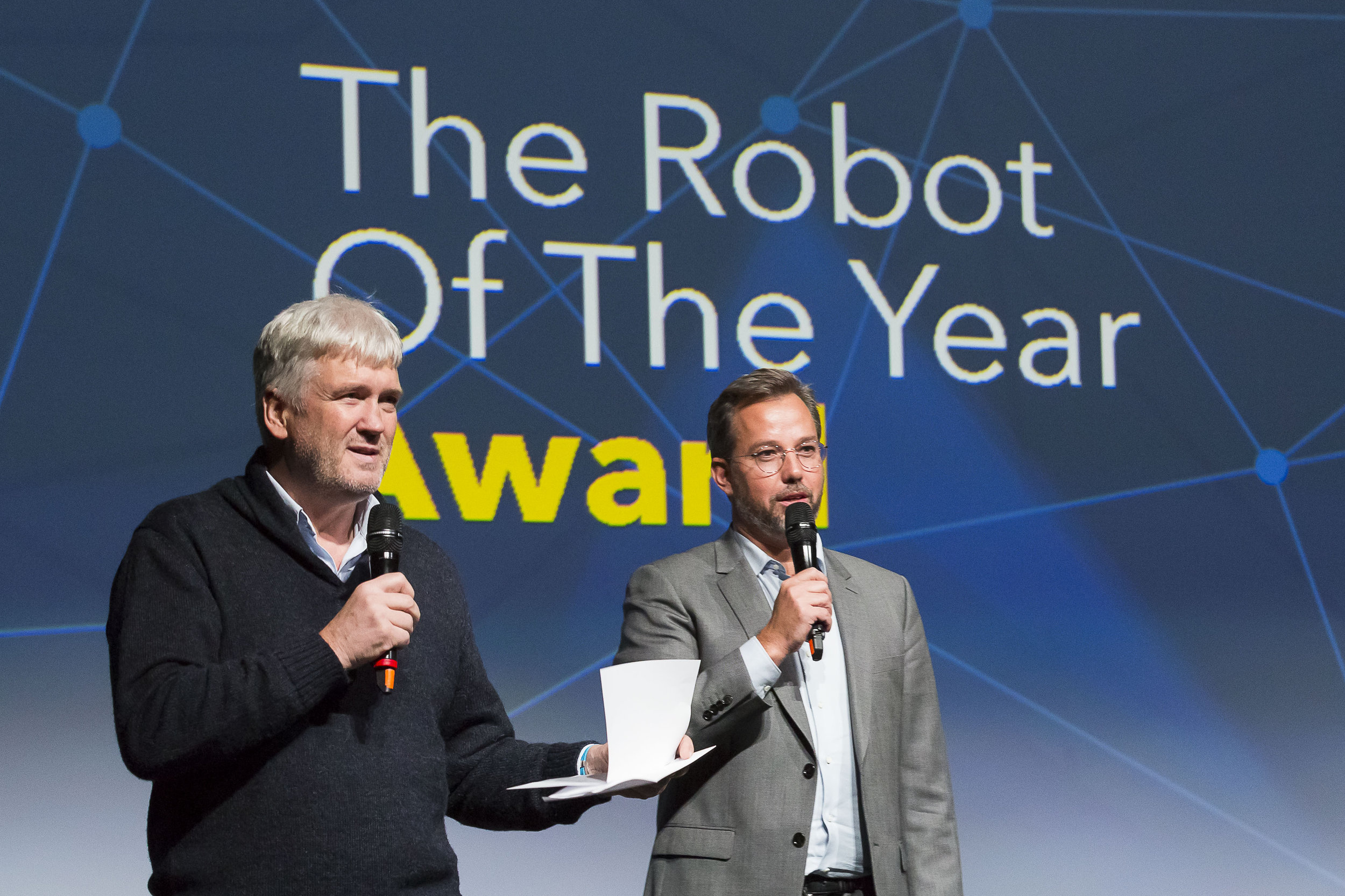 Awards Ceremony  BrunoMaisonnier- Founder of AnotherBrain & mentor of The Robot Of The Year, PhilippeNacson -Founder The Robot Of The Year & founding partner Ai.VEN