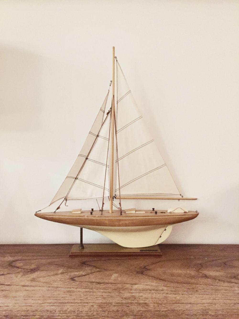 Vintage yacht on the mantelpiece