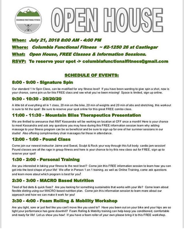 Have you heard of @columbiafunctionalfitness ?! ☺️ They are having their open house this coming Saturday, July 21, 2018! 💪🏼 I will be there offering an information session on the benefits of massage therapy and how they relate to activity, and fitness programs! 💆🏼♀️💆🏼♂️🏋🏻♂️🏋🏼♀️ I am also very excited to be offering services at Columbia Functional Fitness once a month! 😄 I hope to see you there this Saturday!  #registeredmassagetherapist #registeredmassagetherapy #rmt #trailbc#rosslandbc #rosslander #massagetherapy #ilovemassage #mountainliving #kootneayhealthylifestyle #kootenayliving #wellness #health #relax #kootenaylife #supportlocal #massagetherapist #castlegarbc #castlegarwellness