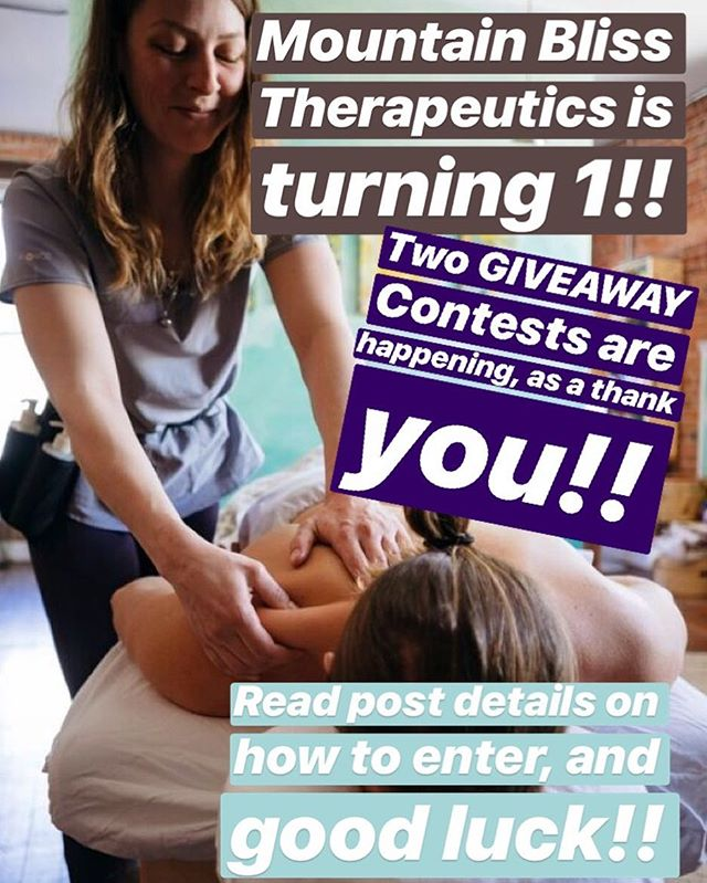 Mountain Bliss Therapeutics is turning 1!! 🤩🎉 This past year in business has been full of learning experiences, meeting and helping wonderful people, and so much gratitude!🙏🏼 . As a token of my appreciation for your continued business, I will be hosting not one, but TWO giveaways!😍😄🤗 . 🌟Giveaway 1🌟 This is an online giveaway! You must be following my profile, like this post, and tag a friend! . 🦋Giveaway 2🦋 This is an appointment based giveaway! Each appointment in September will count as an entry to this giveaway! Limit of two entries per person! . 🍭PRIZES🍭 Each winner will receive: 💆🏼‍♀️💆🏼‍♂️ A ONE HOUR Massage treatment! ⚡️ One large and one small deep release massage ball! 🌙 One locally handcrafted muscle therapy topical oil! . Good luck! I can't wait to pick a couple winners!🔥😁🎉 . #registeredmassagetherapist #registeredmassagetherapy #rmt #trailbc #rosslandbc #rosslander #massagetherapy #ilovemassage #mountainliving #kootneayhealthylifestyle #kootenayliving #wellness #health #relax #kootenaylife #supportlocal #massagetherapist #castlegarbc #castlegarwellness #kootenaywellness #giveaway