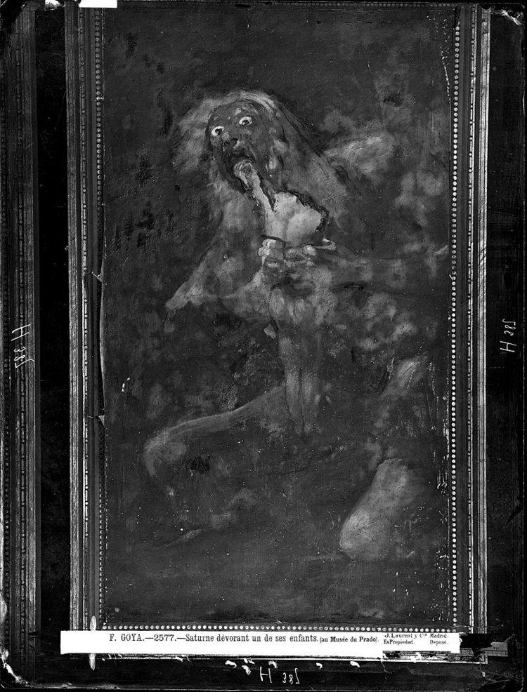 SATURNO EN LA QUINTA DE GOYA, EN 1874. FOTOGRAFÍA DE J. LAURENT. ESTA PINTURA ESTABA RODEADA POR UN MARCO DE PAPEL. EL NEGATIVO ORIGINAL SE CONSERVA EN LA FOTOTECA DEL IPCE