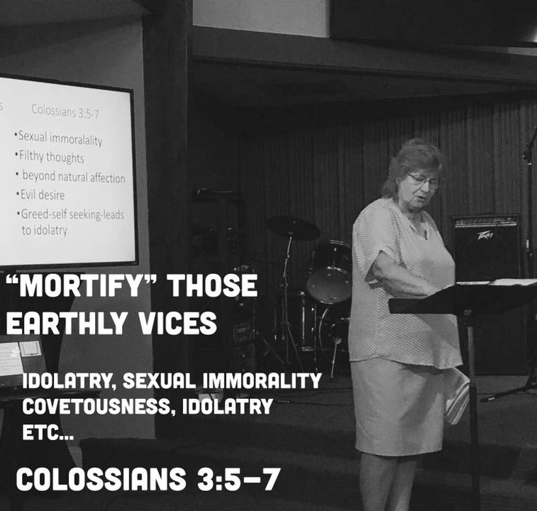 Mrs. Connie leading Sunday School earlier this year!