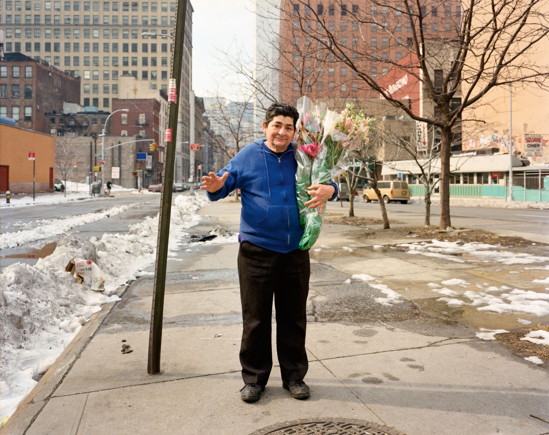 A Man Delivering Flowers, New York, New York, March 1994