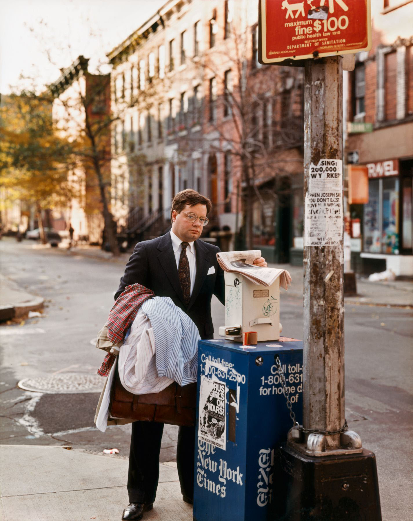 A Lawyer with Laundry, New York, New York, October 1987