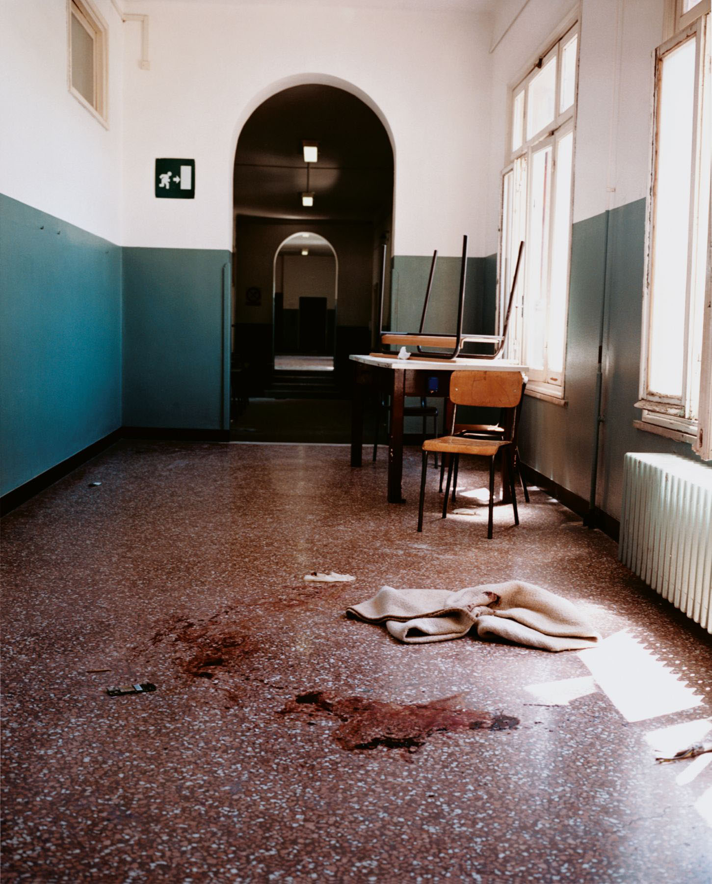 The fifth floor of the Armando Diaz School after a police raid, Genoa, 21 July 2001