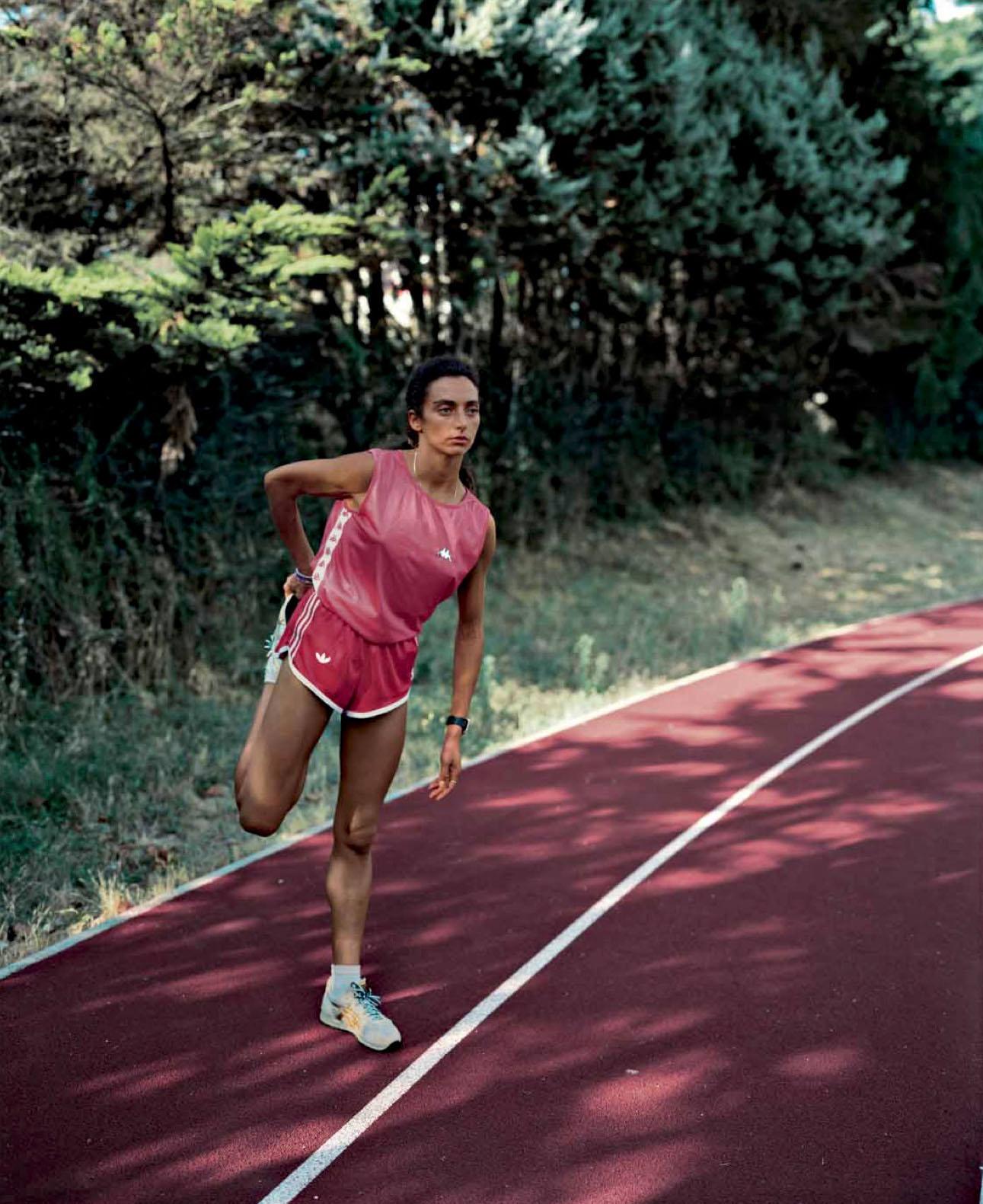 Tiziana at the running track in Frascati, November 1990
