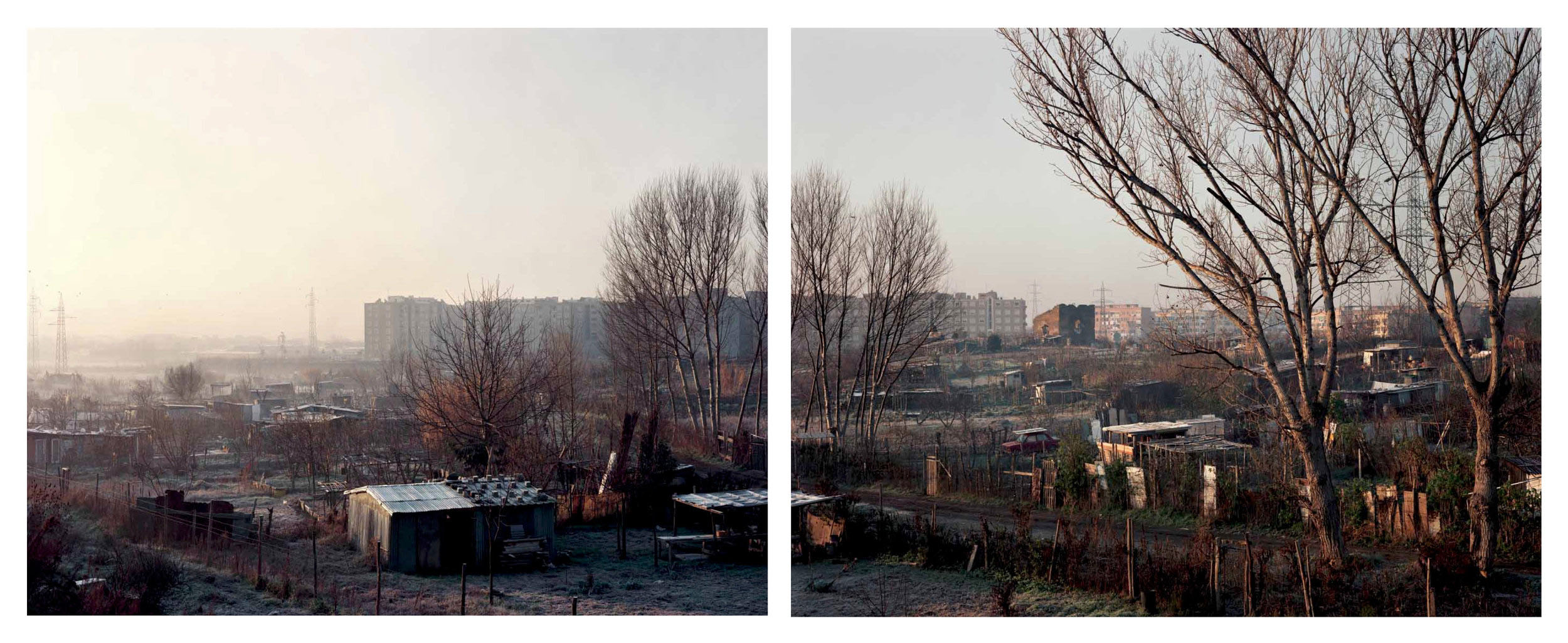 Landscape with apartments and a Roman ruin on a frosty morning, near Torre Spaccata, December, 1989