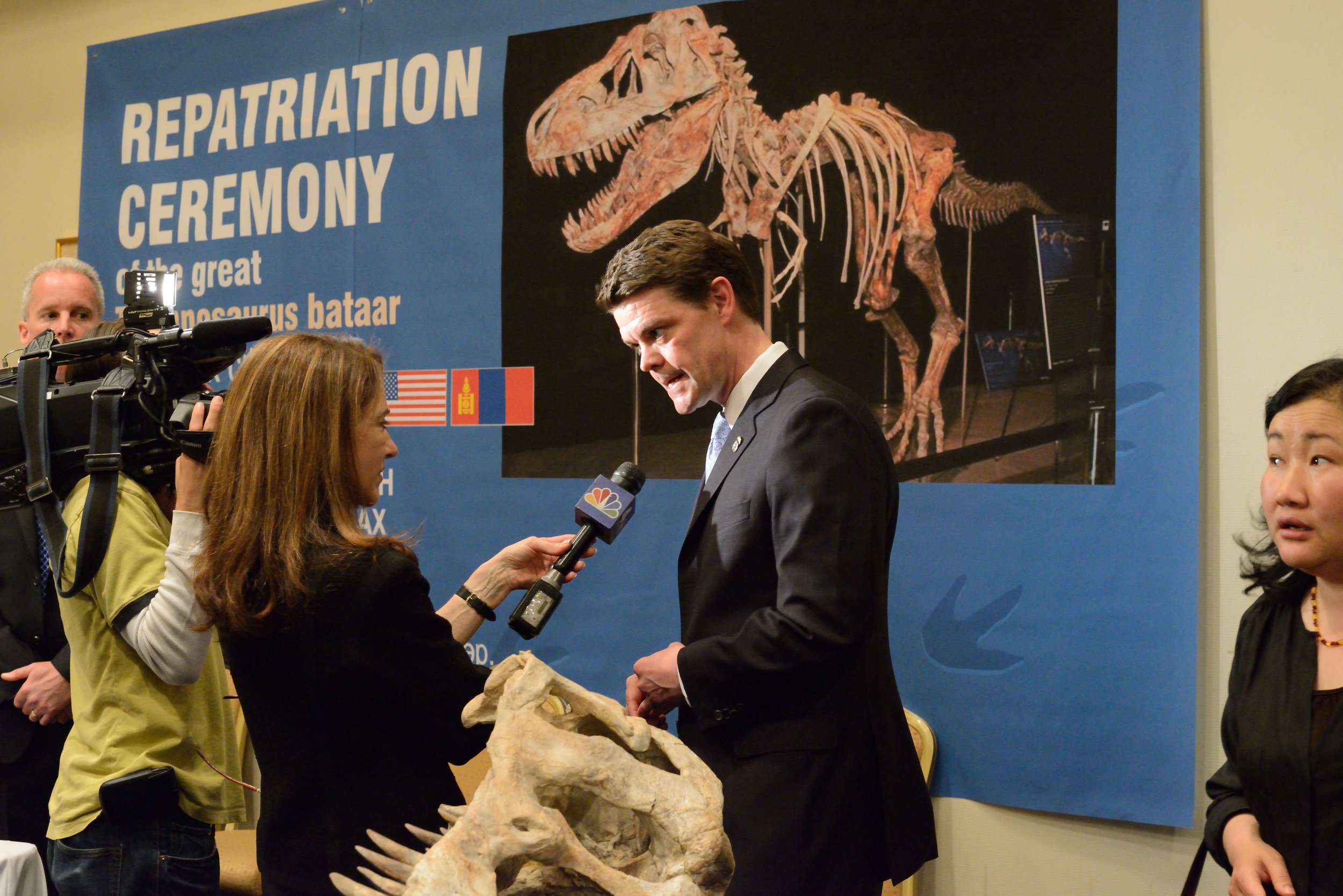 Dinosaur Bones, United Nations Plaza Hotel, Manhattan  At this ceremony the dinosaur bones, which had been illegally poached and marketed, were returned return to Mongolia by the US Department of Homeland Security.  The 80 million year old bones had been delivered to the home of a commercial paleontologist, Eric Prokopi, by the United States Postal Service. He cleaned and assembled the remains and sold the skeleton at auction to a Manhattan real-estate investor wishing to make a show piece for an office building.  The smuggled dinosaur, a Tarbosaurus bataar, was a top of the food chain predator probably preying on other dinosaurs. It now joins Genghis Khan, the brutal conqueror of a vast swathe of Asia and Eurasia as a national hero. The country, which was a Soviet satellite for much of the 20th Century is in the process of converting a museum dedicated to the Soviet leader Vladimir Lenin, the founder of a totalitarian dictatorship responsible for numerous deaths and repressions, into a dinosaur museum.