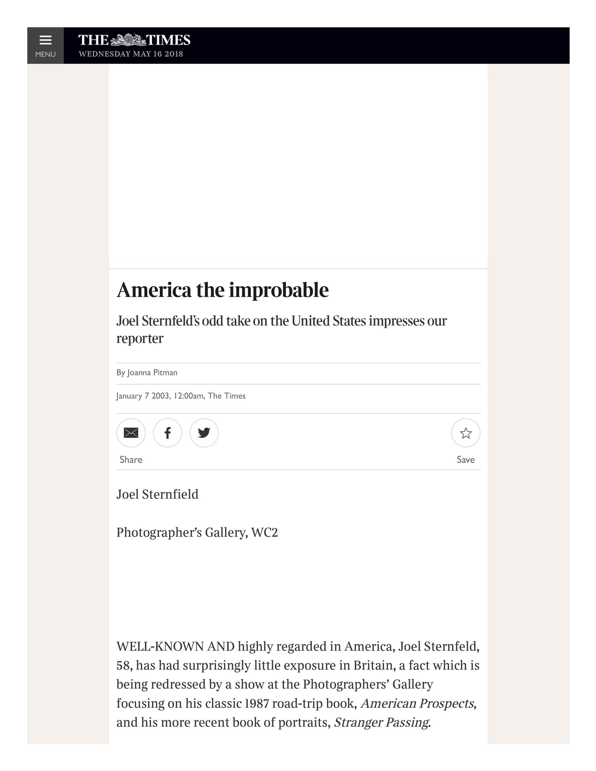 America the improbable | The Times