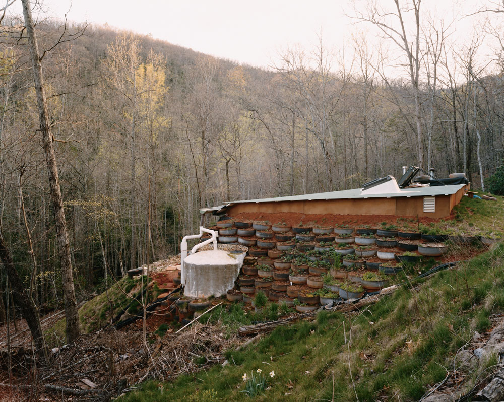 An Earthship at Earthaven Ecovillage, Black Mountain, North Carolina, April 2005.