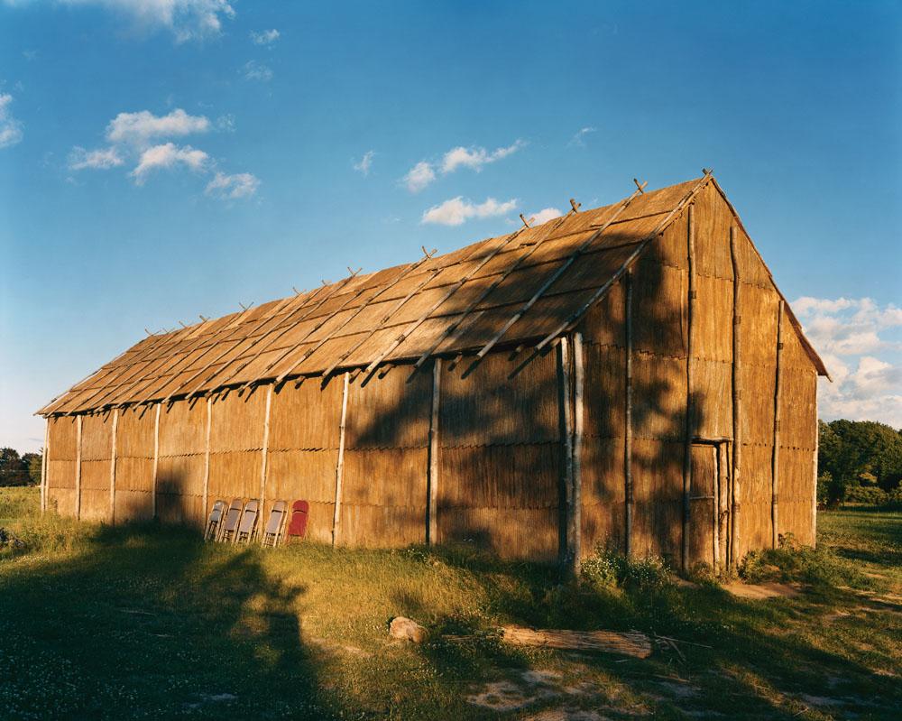 Recreated Bark Longhouse, Ganondogan State Historic Site, New York, July 2000.