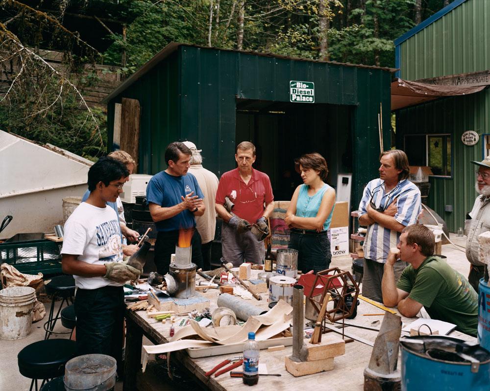 A Rocket Stove development workshop, Aprovecho Research Center, Cottage Grove, Oregon, August 2004.