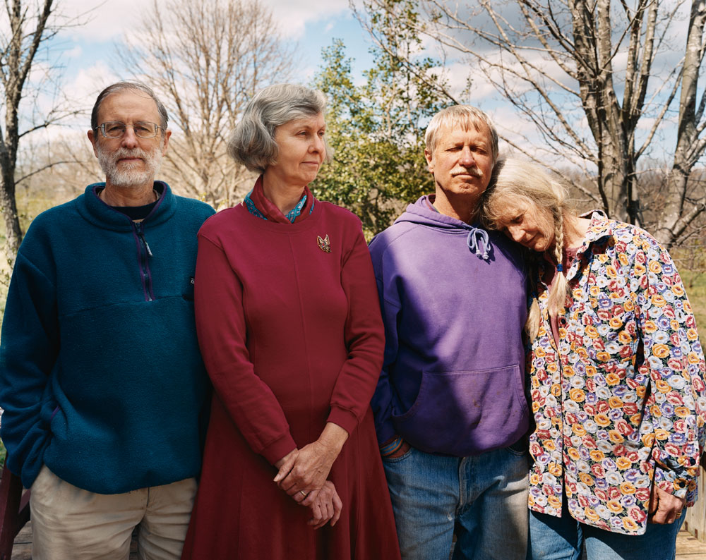 Andy Wilson, Evelyn Edson, Tom and Ruth Klippstein at Springtree Commune, Scottsville, Virginia, April 2005.