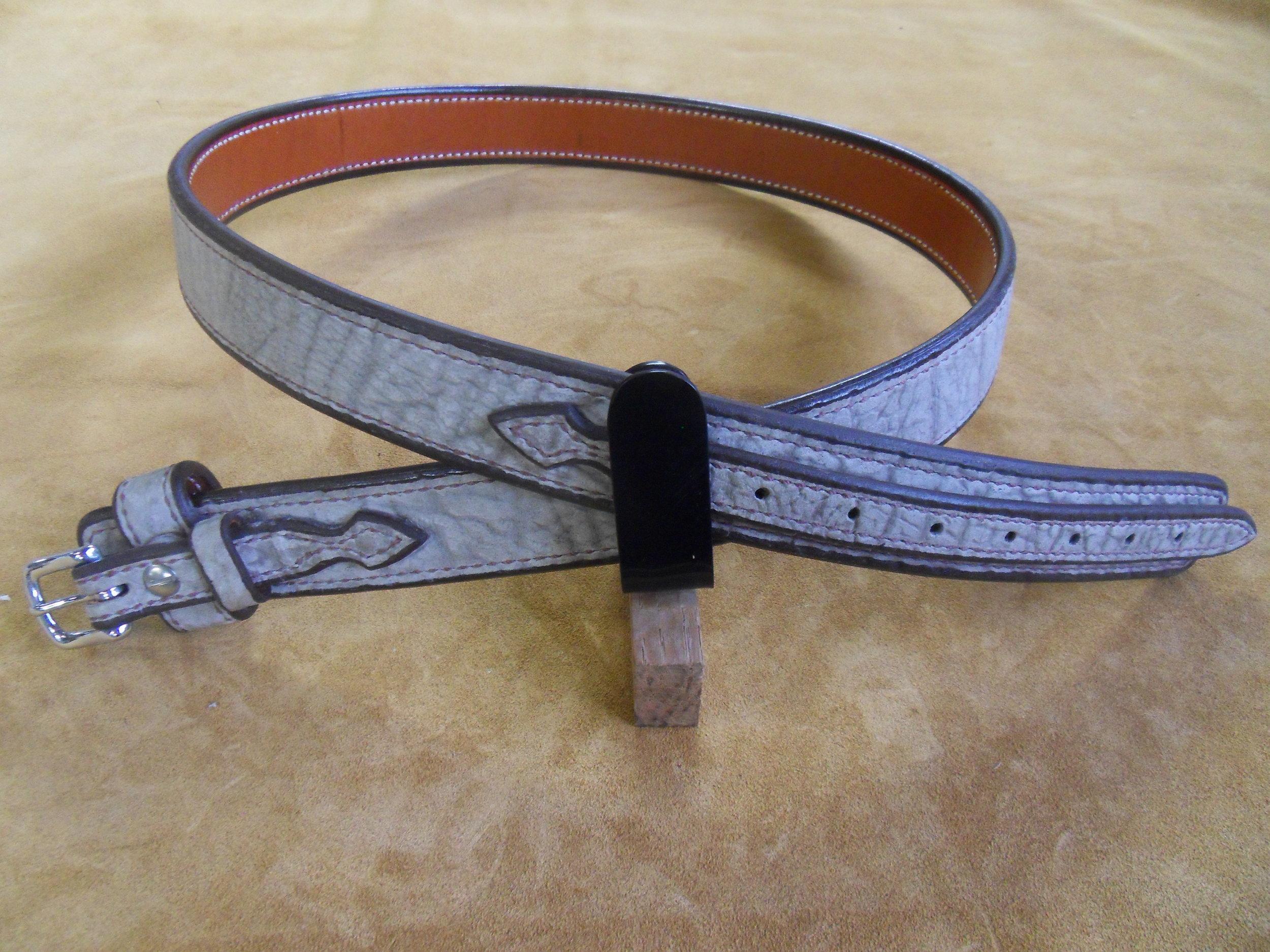 """9222 - 1 1/2"""" Ranger Belt, Sandy Tan Cape Buffalo, 42"""" Waist, $325.00"""