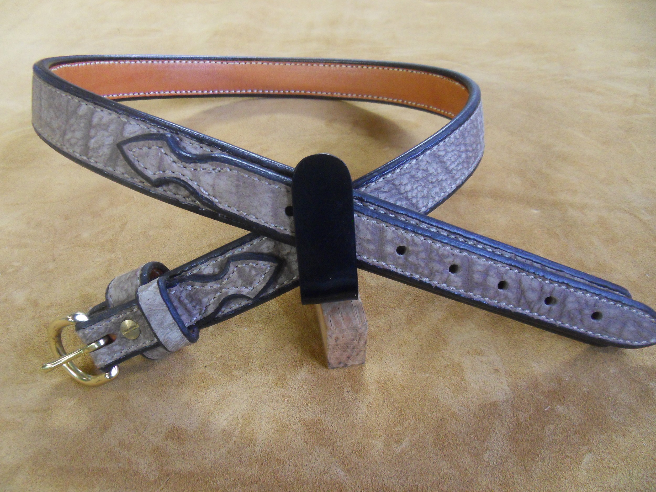 """9223 - 1 1/4"""" Ranger Belt, Sandy Tan Cape Buffalo, 34"""" Waist, $300.00"""